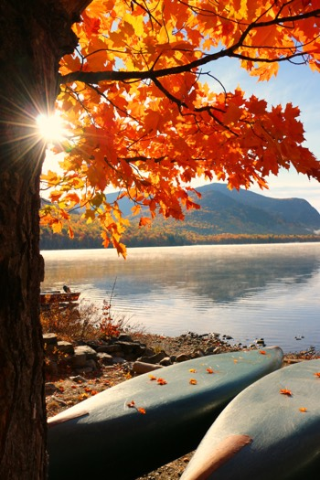 Fall leaves with lake and canoes