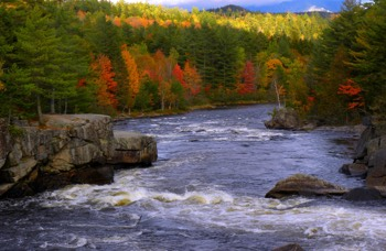 Fall time on Penobscot Telos River at Abol Falls in Millinocket, Maine